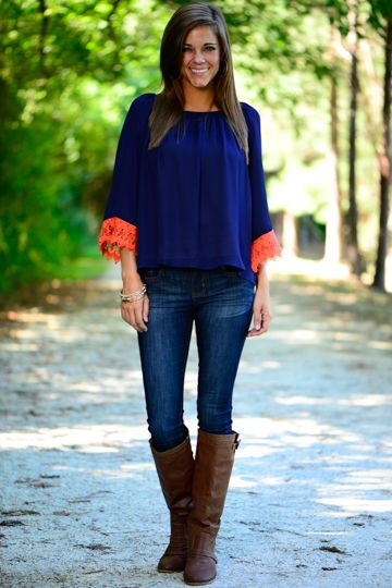 Lace Yourself Blouse, Navy/Orange from The Mint Julep Boutique