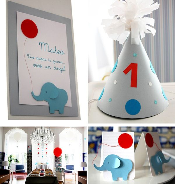 Another view of elephant theme 1st birthday. Love the color palette for little boys.