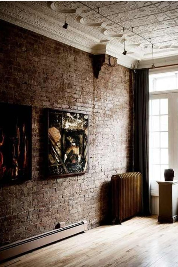 Love The Brick Wall Painted Tin Ceiling Brick Accent