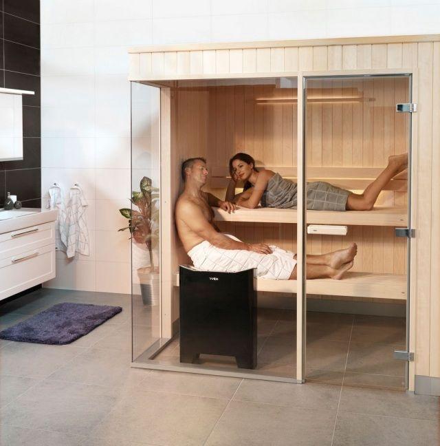 sauna badezimmer planen zwei personen glaswand