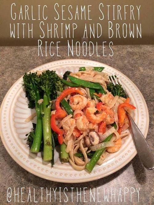 This hit the spot! Tonight I made garlic-sesame shrimp stir fry with brown rice noodles. It only took me about 30 minutes.