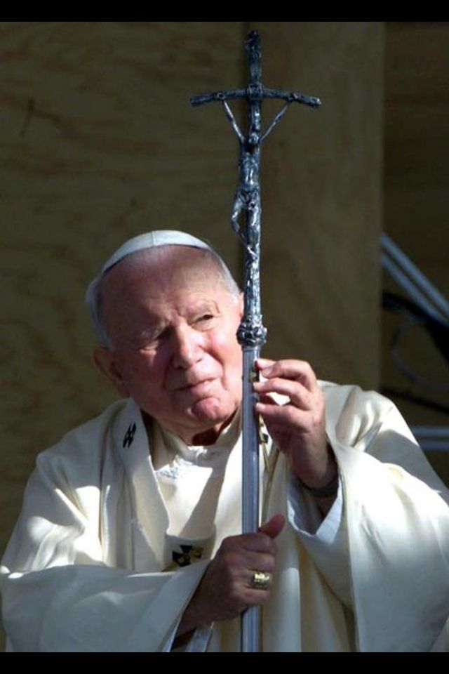 JP II. What JPII saw when he looked at the crucifix was hope. He saw Love. He saw a man who sacrificed His whole life for ghe whole world. He never held judgement on people. He accepted and loved people, and still today, people can feel the love he left behind. That is a legacy.