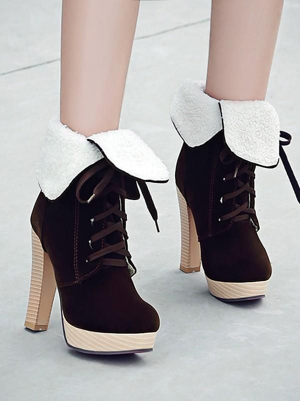 ec7c0336297 New Brown Round Toe Chunky Fashion Ankle Boots in 2019   Products ...