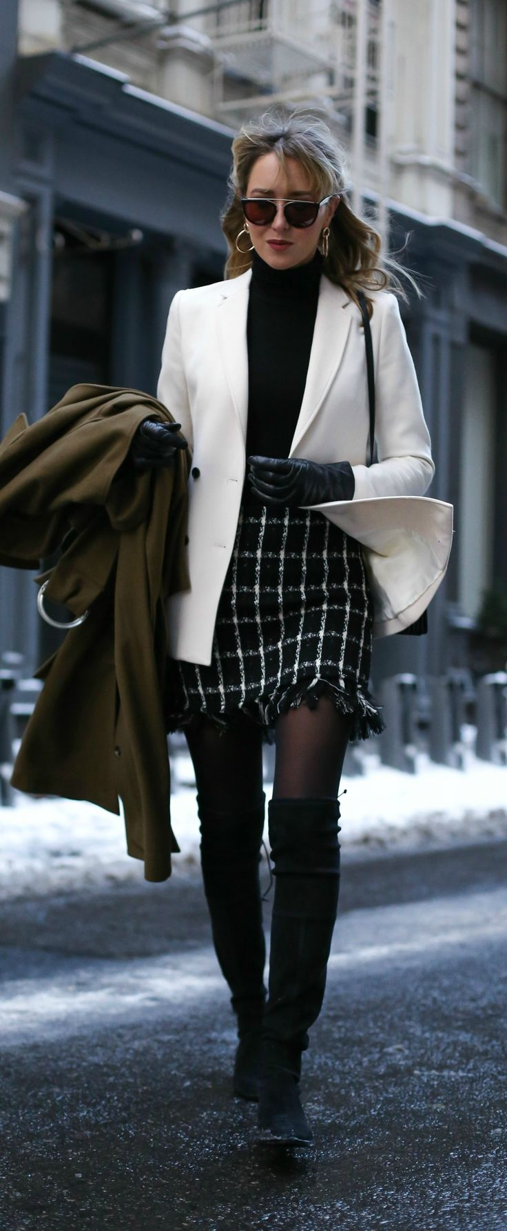 the best basic turtleneck, black and white check mini skirt with fringe detail, ivory double-breasted blazer with black buttons, over-the-knee suede flat boots, long olive green wool maxi coat // classic office style