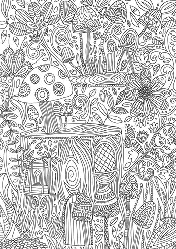 toadstools colouring page