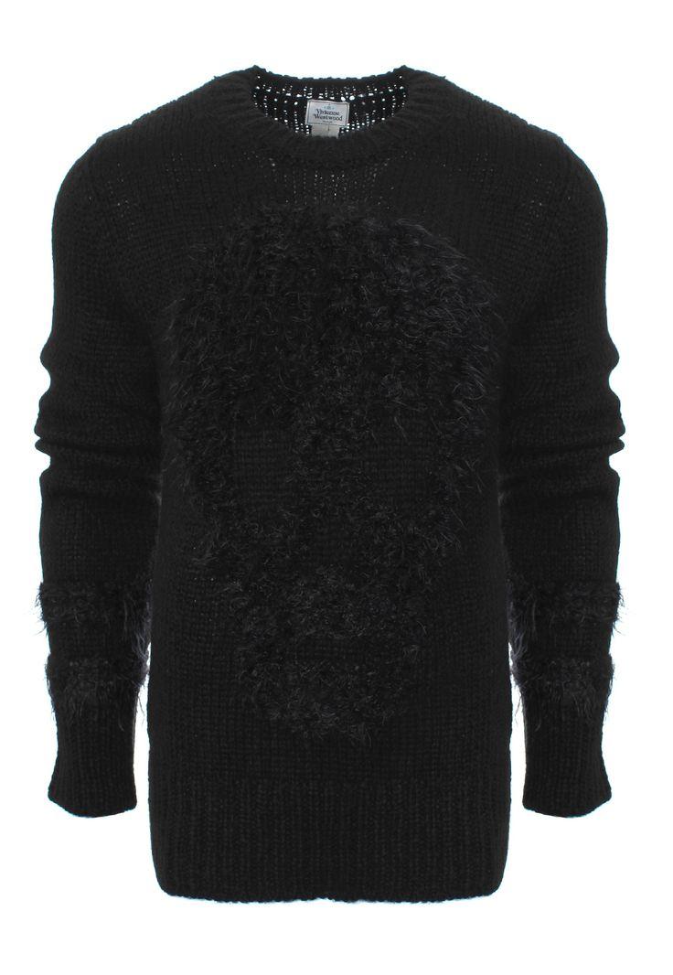 Vivienne Westwood MAN Hairy Skull Jumper: black