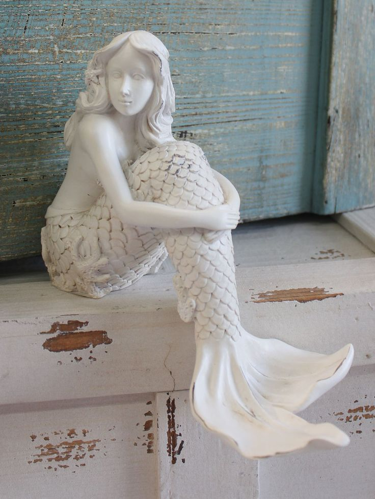 Mermaid shelf sitter resin figurine bathrooms decor nautical bathroom decor and retail - Mermaid decor bathroom ...