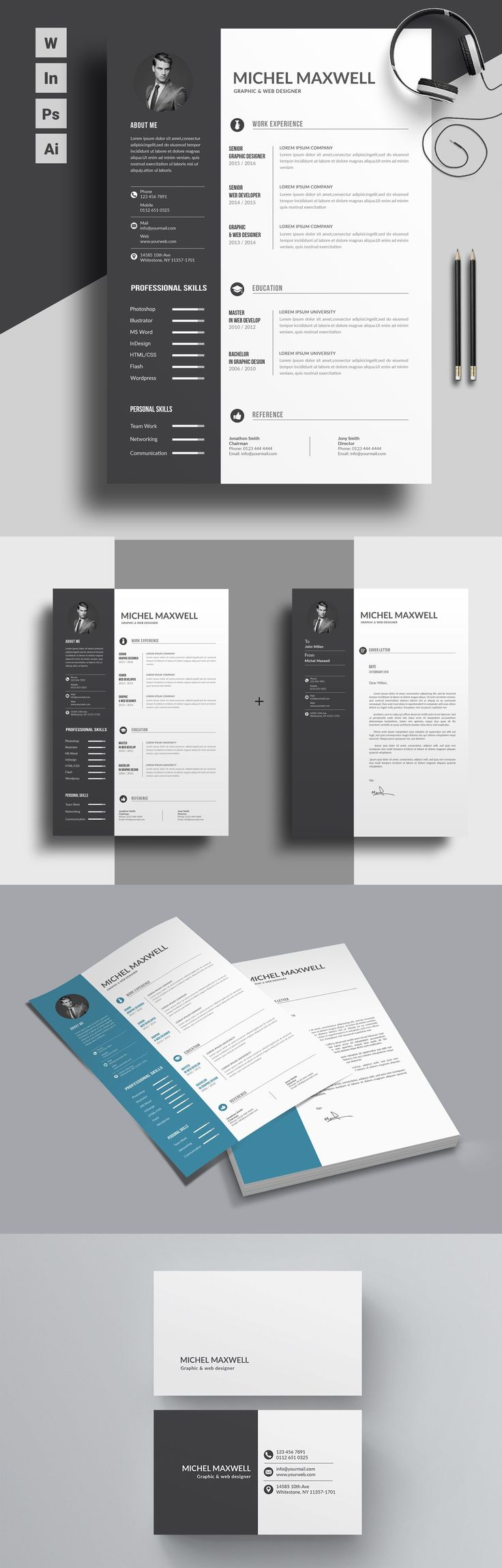 Trendy Resume format for professionals. Suitable for all sort of career. MS Word Version available. The pack comes with free coverletter template and a free business card psd/word template. Download Now!