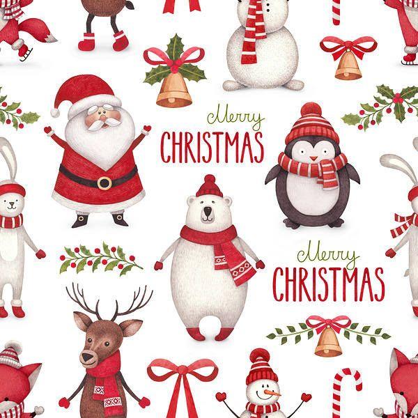 Christmas Background with Polar Bear Cartoon