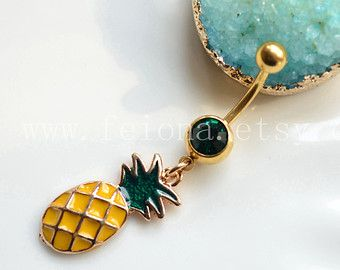 Pineapple belly button ring, Navel Piercing, friendship belly rings, Gold Dangle Belly Ring , Women Belly Button Piercing, belly jewelry