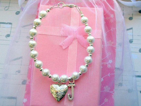 Initial Heart charm LocketFlower Girl BraceletChildrens Wedding