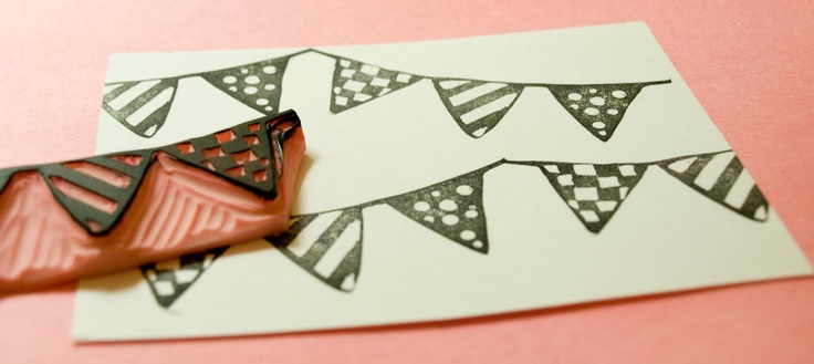 Bunting Rubber Stamp Hand Carved for Scrapbooks Cards Muslin Bags. $9.00, via Etsy.: Buntings Rubber, Hands Carvings, Scrapbook Cards, 9 00, Scrapbooks, Cards Muslin, 900, Stamps Hands, Rubber Stamps
