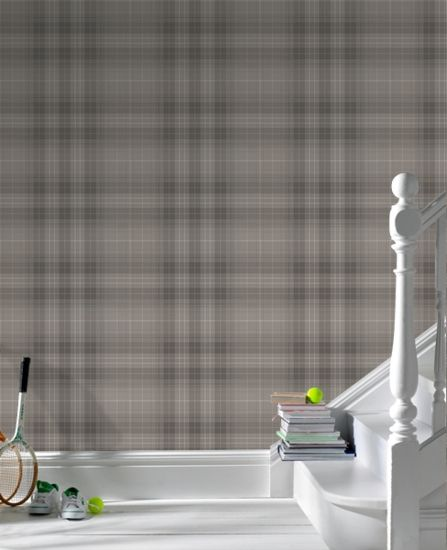 Audrey Charcoal Tartan, Charcoal and Wallpapers