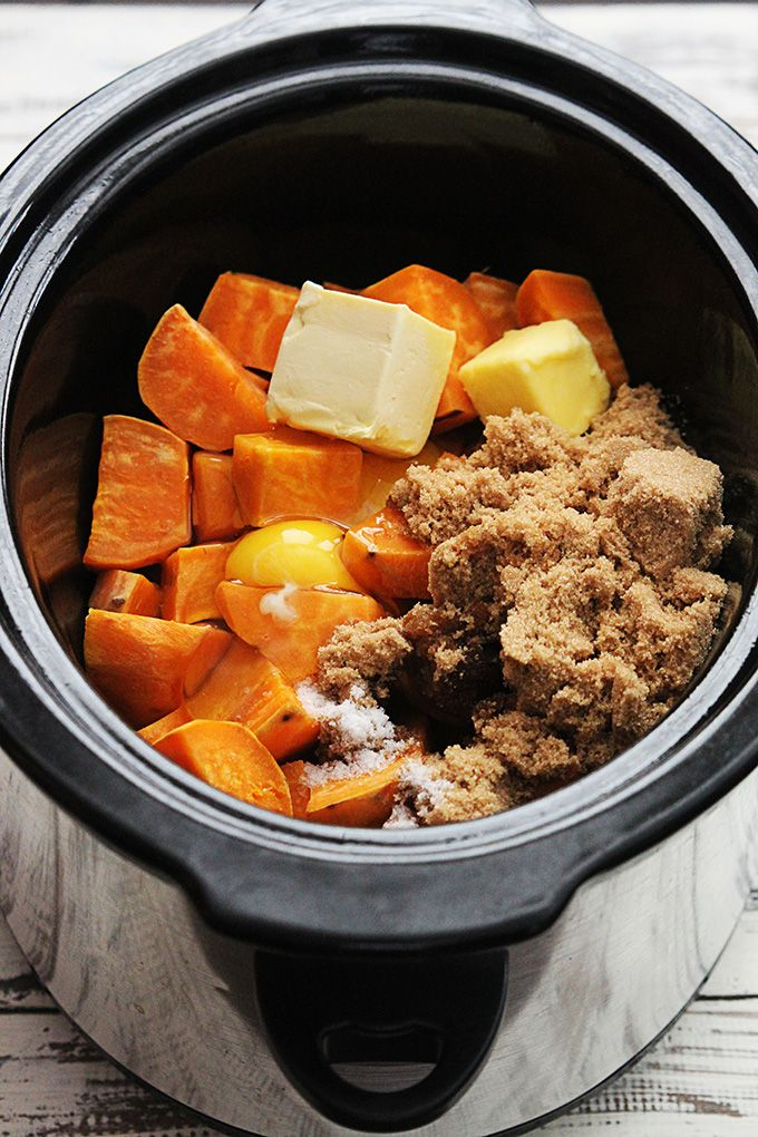 Sweet Potato Casserole.  This recipe allows cooking the potatoes down in a slow cooker, which is a nice option