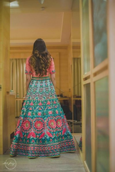 Sangeet Outfits - Blue and Pink Anarkali | WedMeGood | Fully Embroidered Wedding Gown  #wedmegood #indianbride #indianwedding #bridal #sangeetoutfit #anarkali #pink #blue