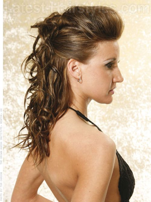 Sleek Curly Half Updo Hairstyle With Volume Winter