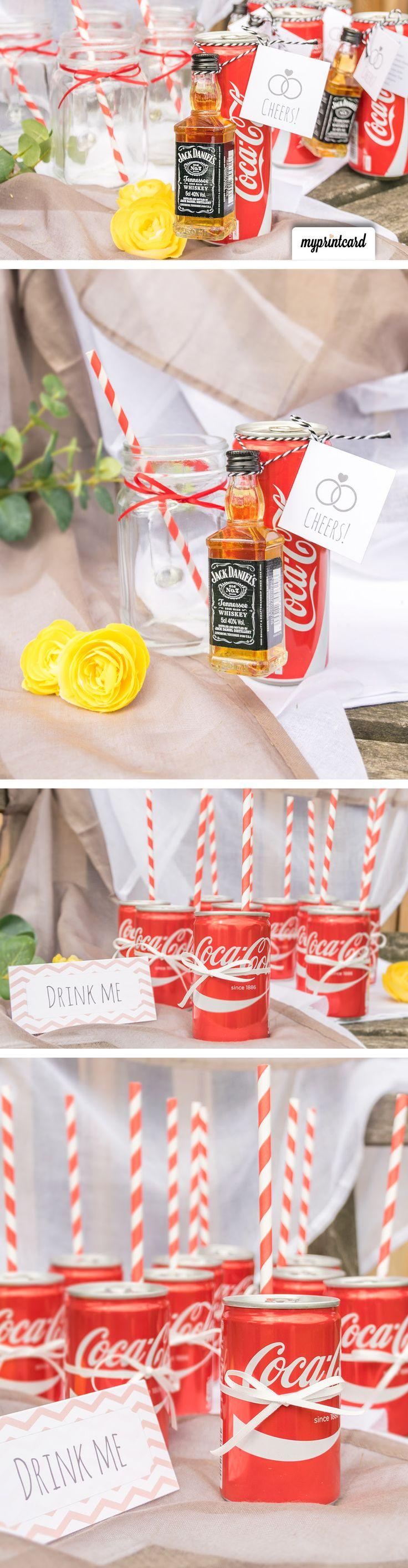 Tolle und ausgefallene Ideen für den Sektempfang bei der Hochzeit. Hier kommt eine schöne Dekoration #ausgefallen #Idee #Hochzeit #heiraten #selbermachen #diy #sektempfang #cocacola #inspiration #masonjar #cheers #braut #bräutigam #trauzeuge