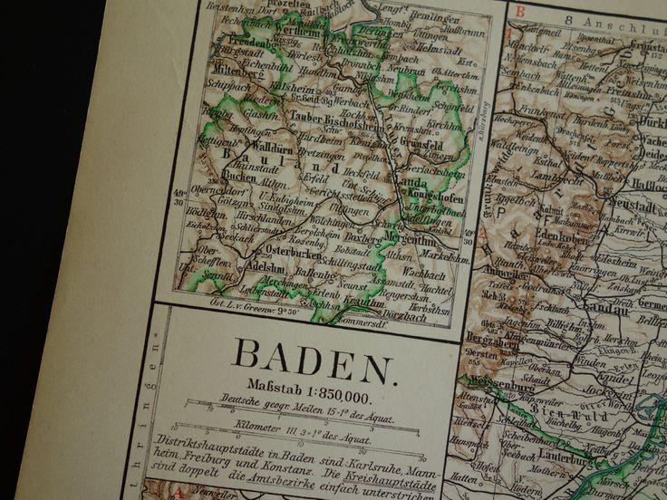 "Old map of Baden province Germany 1913 original vintage poster - alte karte von carte kaart van Karlsruhe provinz Deutschland 25x32c 10x13"" by VintageOldMaps on Etsy"