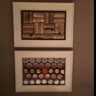 I've pinned a much larger example of this that I wanted to make but I only had room for a small picture frame. Frames from Michaels ($1 each), corks (Norman), beer tops (me)!
