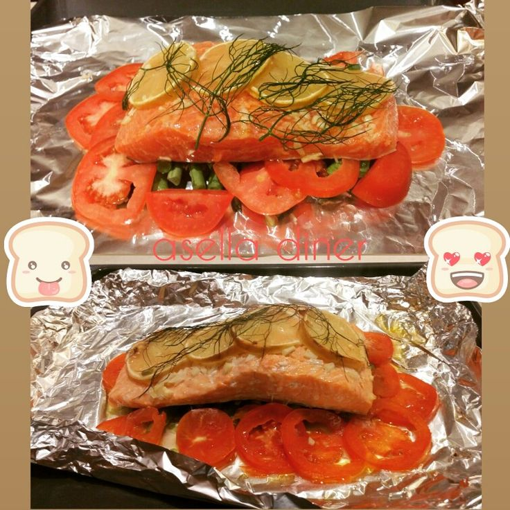 Salmon with tomatoes lemon and dill leaves