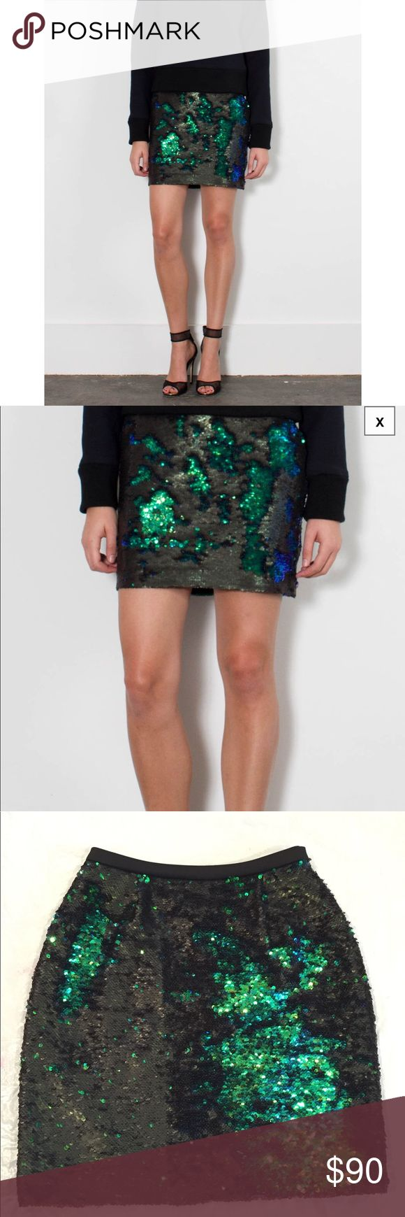 "NWT**SACHIN + BABI*Sequin Mermaid Mini Skirt**XS Gorgeous mini skirt. It's by Sachin + Babi and its called the Brittany skirt. Sequin mini skirt in mermaid. All over green and black sequins and as you brush it it changes colors.!!!! Waist: 25"" Hips: 37"" Length: 17 1/2"" Inside the tag is in a sticker format!! This skirt would look great with a plain black tank top or top or maybe even a white!!! Ultimate glam!!! Sachin + Babi Skirts Mini"