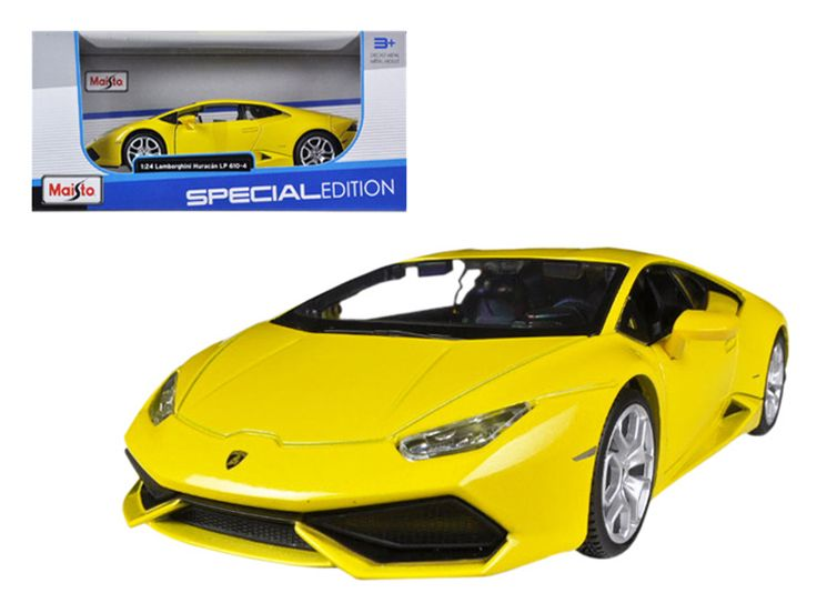 Lamborghini Huracan LP610-4 Yellow 1/24 Diecast Model Car by Maisto - Brand new 1:24 scale diecast model car of Lamborghini Huracan LP610-4 Yellow die cast car model by Maisto. Brand new box. Rubber tires. Detailed interior, exterior. Made of diecast with some plastic parts. Has opening doors and engine compartment. Dimensions approximately L-7.5, W-3.5, H-2.75 inches. Please note that manufacturer may change packing box at anytime. Product will stay exactly the same.-Weight: 2. Height: 6…