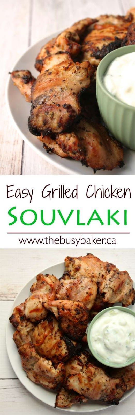 This Easy Grilled Chicken Souvlaki from thebusybaker.ca makes a delicious Valentine's Day meal!