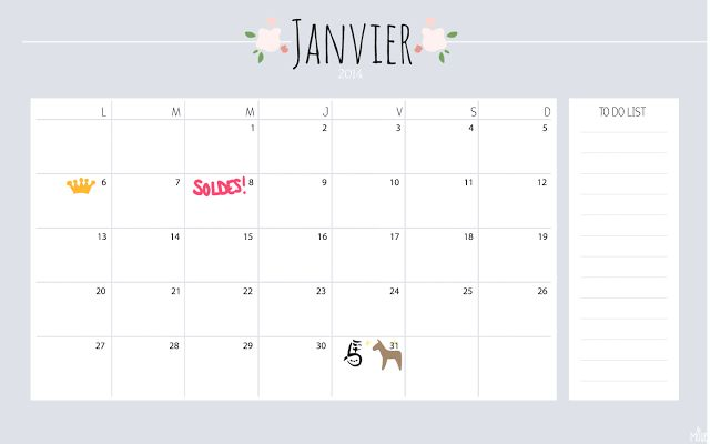 January printable calendar - 2014 www.la-mouette.com