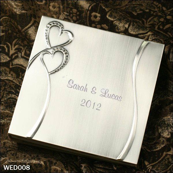 """Engraved Wedding Guest Book, Brushed/Shiny Silver Finish with Rhinestone Hearts. Personalized wedding gift.  Product Number: WED008 Square Size: 8""""(L) x 8""""(H) x 1 3/4 #engravedweddinggift #weddinggift #personalizedweddinggift"""