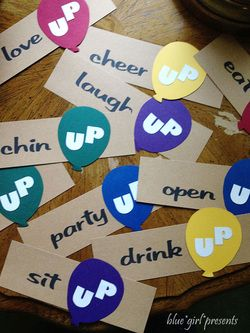 blue girl presents:up theme party signs inspired by the Disney pixar movie
