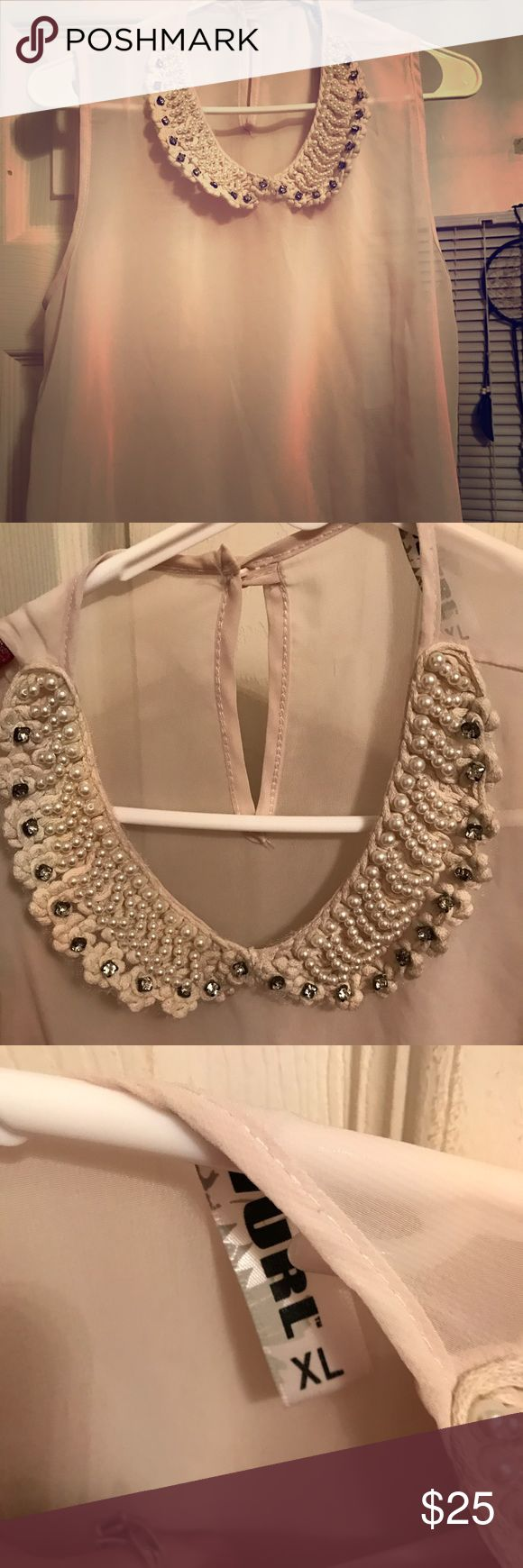 Shear sleeveless top! Elegant cream sleeveless top with pretty neck detail- rhinestones and faux pearls. Pretty and feminine. Tops Blouses