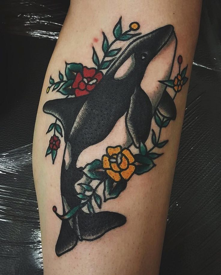 "169 Likes, 4 Comments - Aly Holt (@alyymh) on Instagram: ""My new addition  I love it! By @adamktattoo @ #broadsideswansea • #traditionaltattoo #orca #whale…"""