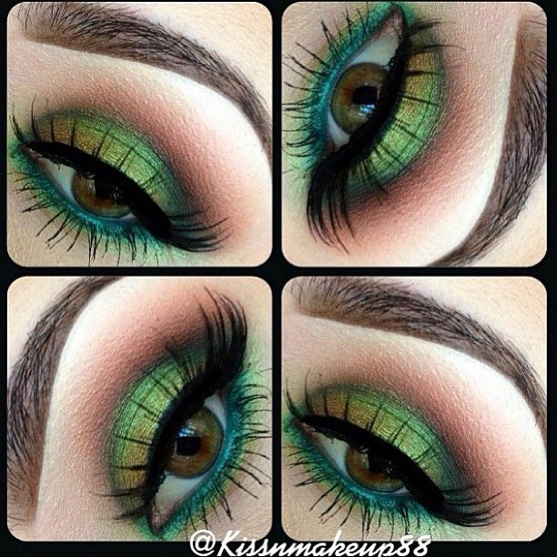 Fun eye - try with Mary Kay Emerald, Lime, and Chocolate...if I even knew how to put on makeup I would try this!! So pretty!