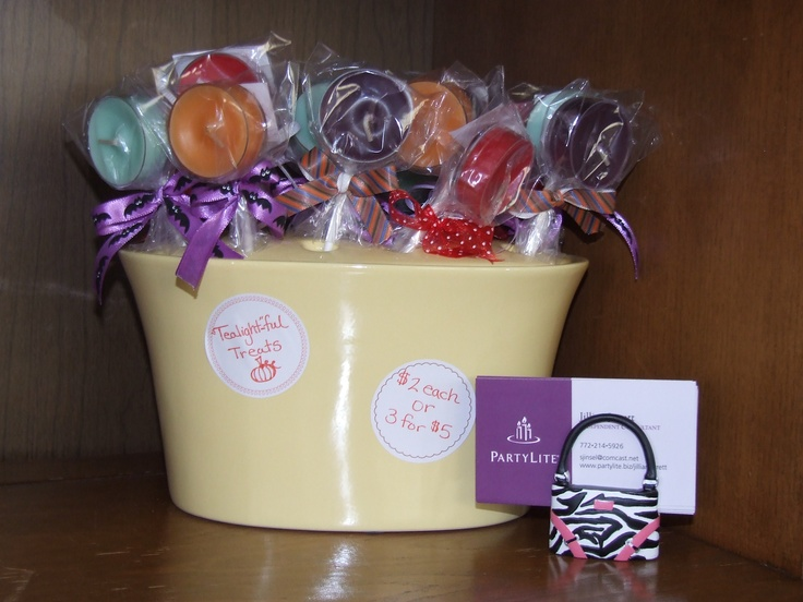 Tealight-ful Treats!  Lollipop like gifts for anyone who needs a pick me up!  Handmade by me, $2 each, using PartyLite tealights.