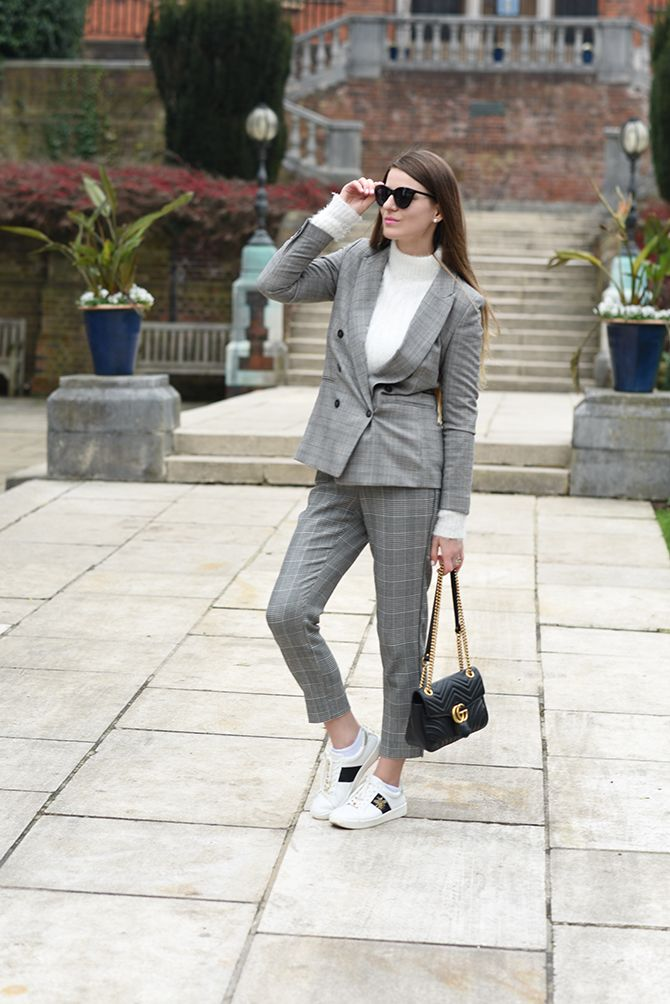 9f402a854 checked-suit-woman-gucci-marmont-bag-dune-bee-trainers-fashion-blogger- london-2