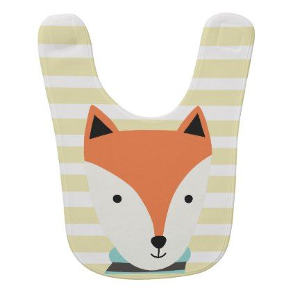 Fox Baby Bib with green stripes - baby gifts child new born gift idea diy cyo special unique design