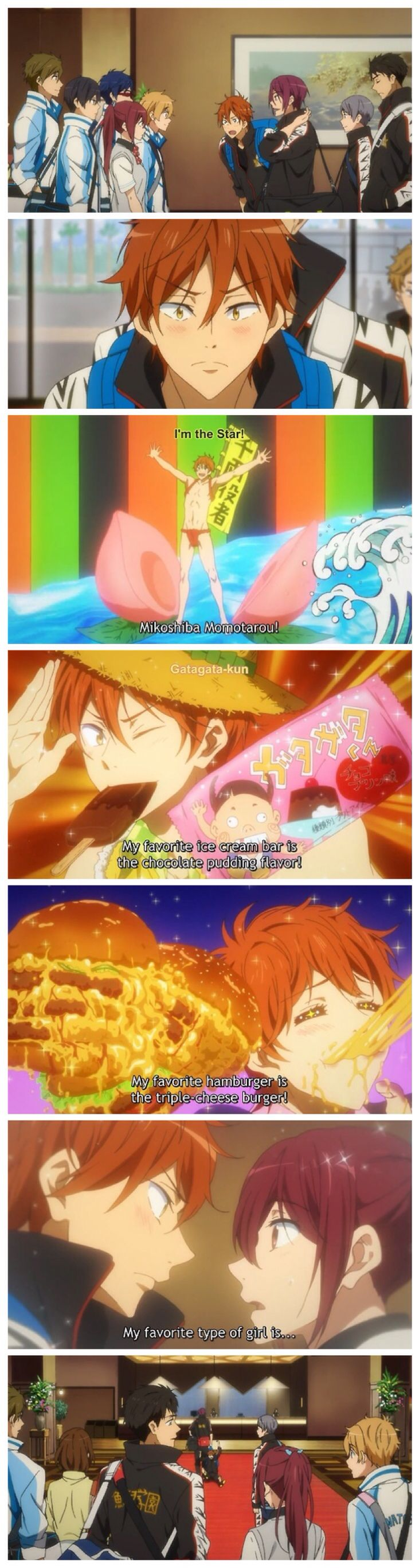 Free! ES ~~ Thanks, Peaches. This was basically the only comedy relief in the entirety of episode 9. :: Momotarou and the Gang