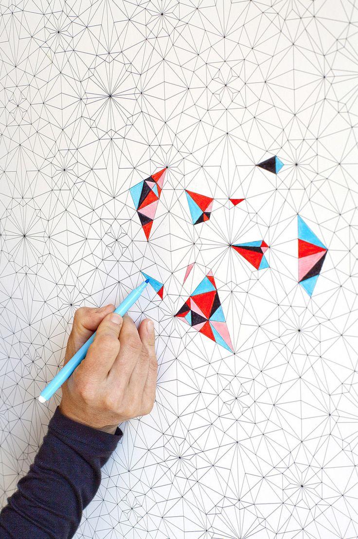 papier peint colorier soi mme dcorations murales par kidivist - Papier Peint Et Peinture Dans La Meme Piece