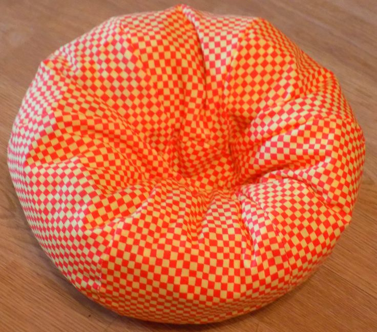 Orange And Yellow Checked Bean Bag Chair That Will Fit 145 Dolls Such As American