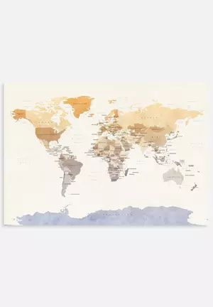 Watercolour Political Map of the World 2