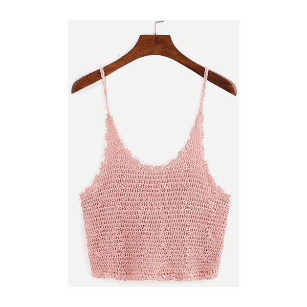 SheIn(sheinside) Crop Crochet Cami Top - Pink ($13) ❤ liked on Polyvore featuring tops, pink, white cami, white crop top, spaghetti strap tank top, crop tank and pink tank