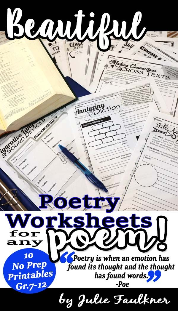 Poetry Worksheets Analysis & Comprehension for Any Poem, NO PREP, Middle School, High School