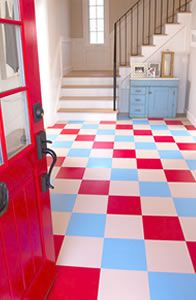After the spectacular success of my new bathroom floor, maybe I could stick these in our basement bathroom?