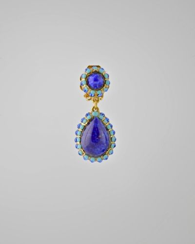 COBALT BLUE TEAR DROP: 24 Karat gold plated tear drop earring with large glass stones in cobalt blue with accents of austrian crystals in turquoise colour. Earring is clip on . Earring is 1.75 inches long and  7/8 of inch at widest point. Get a 20% discount with promo code: Olusegun683. $240