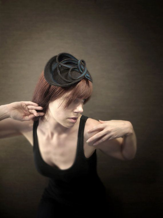 Sculptural Felt Headband/Fascinator Orbital Series  by pookaqueen, $80.00