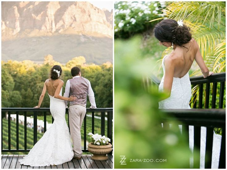 Photos of the couple from the back, looking into the distance and the bride while walking down the stairs - I love these elegant couple photos.  Wedding photos taken at Molenvliet Wine Estate in Stellenbosch.  Couple having fun while walking along farm road.  See more of this wedding on our blog http://www.zara-zoo.com/blog/fresh-wedding-ideas-molenvliet/