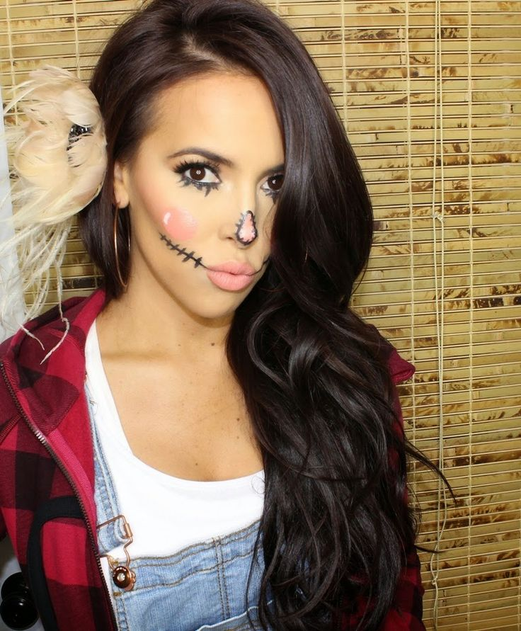SCARECROW FOR HALLOWEEN MAKEUP LOOK. Feathered Flower In Hair Dark Brown Hair How To On Www ...