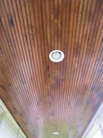 stained beadboard ceiling