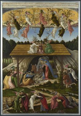"""Mystic Nativity, 1500, Sandro Botticelli. """"An image with mysterious symbolism, combining a Christian Nativity scene with a vision of Christ's Second Coming."""" (National Gallery)"""