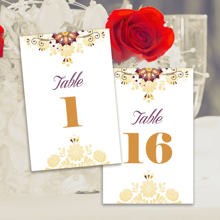 Printable Wedding Table Numbers 4x6, Elegant Embroidery Element, Gold Floral Chic Wedding Template, Table Numbers Cards 1-30, Instant Download